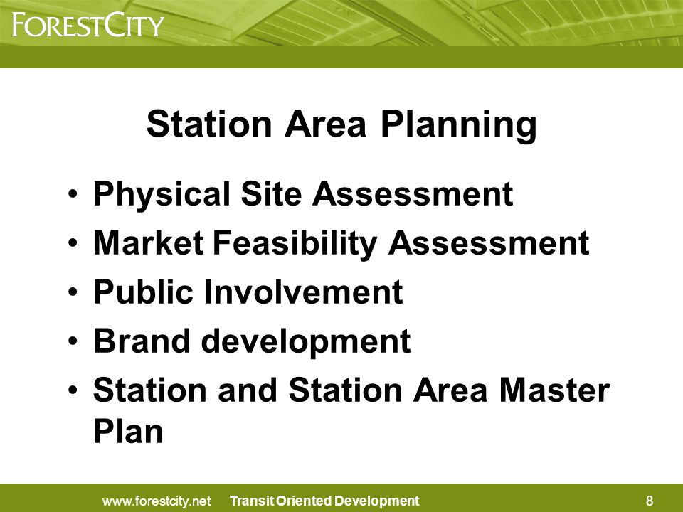 Transit Oriented Development Criteria for Train Station Planning (continued) 10.Describe coordination with other commuter modes of transportation and how this station will be intermodal.