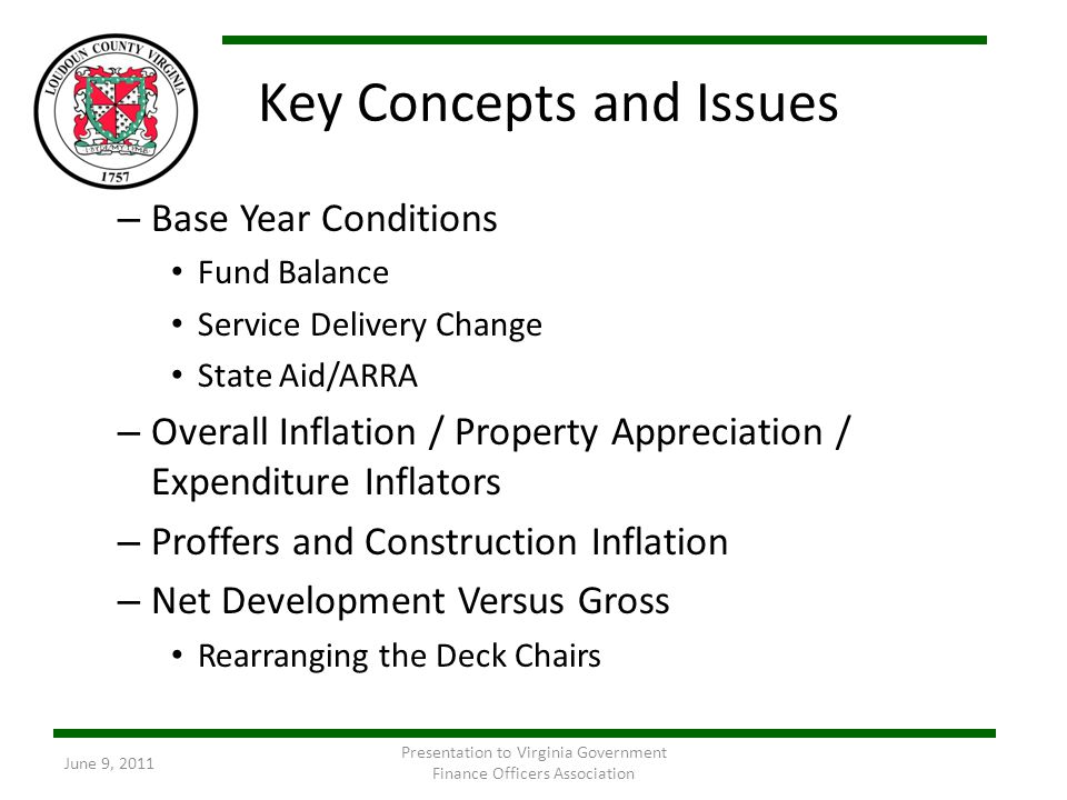 Key Concepts and Issues – Base Year Conditions Fund Balance Service Delivery Change State Aid/ARRA – Overall Inflation / Property Appreciation / Expen