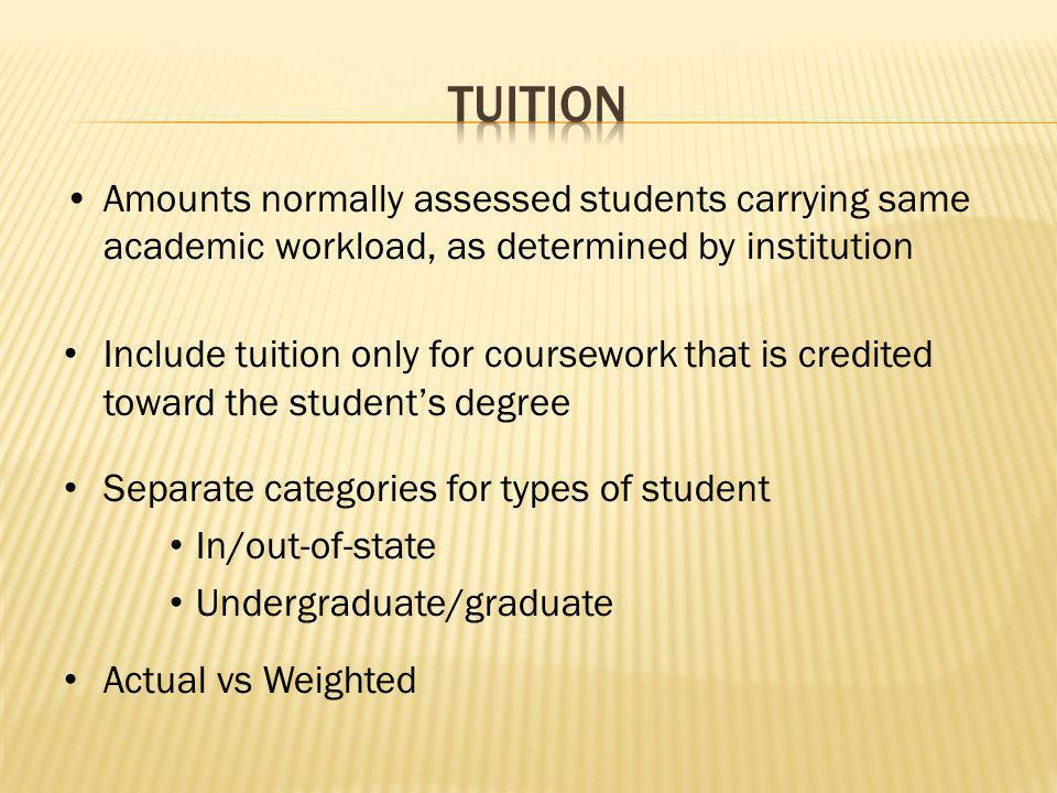 Amounts normally assessed students carrying same academic workload, as determined by institution Include tuition only for coursework that is credited