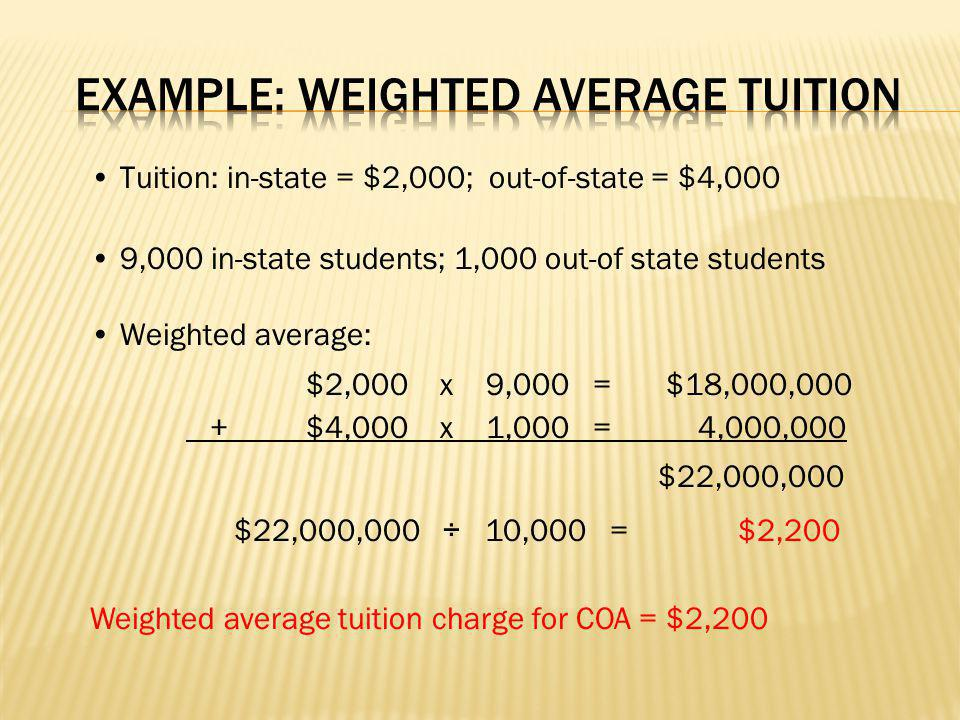 Tuition: in-state = $2,000; out-of-state = $4,000 9,000 in-state students; 1,000 out-of state students Weighted average: $2,000 x 9,000 =$18,000,000 +