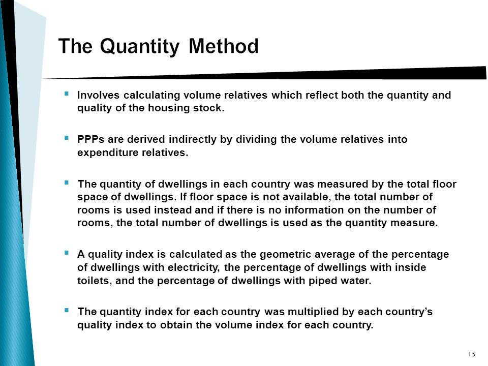Involves calculating volume relatives which reflect both the quantity and quality of the housing stock.
