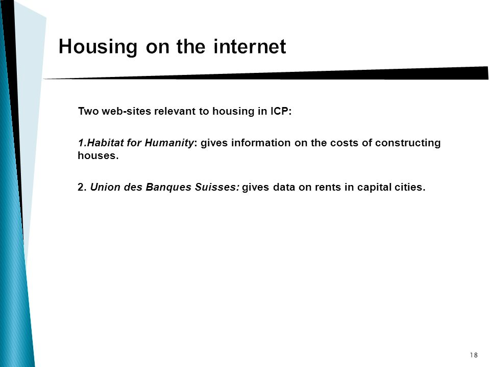 Two web-sites relevant to housing in ICP: 1.Habitat for Humanity: gives information on the costs of constructing houses.
