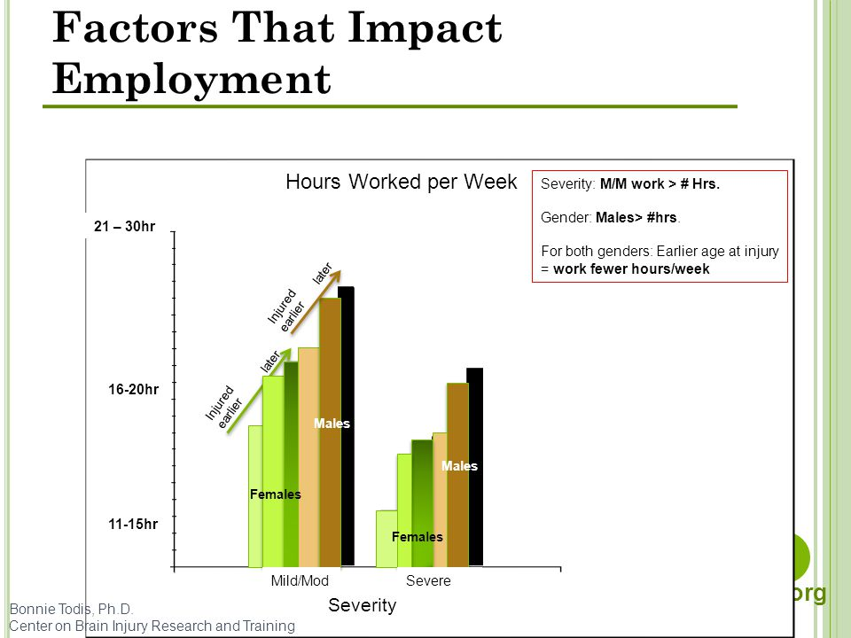 cbirt. org Bonnie Todis, Ph.D. Center on Brain Injury Research and Training Factors That Impact Employment Severity Hours Worked per Week Injured earl