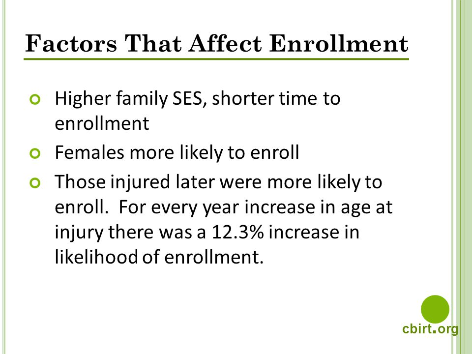 cbirt. org Factors That Affect Enrollment Higher family SES, shorter time to enrollment Females more likely to enroll Those injured later were more li