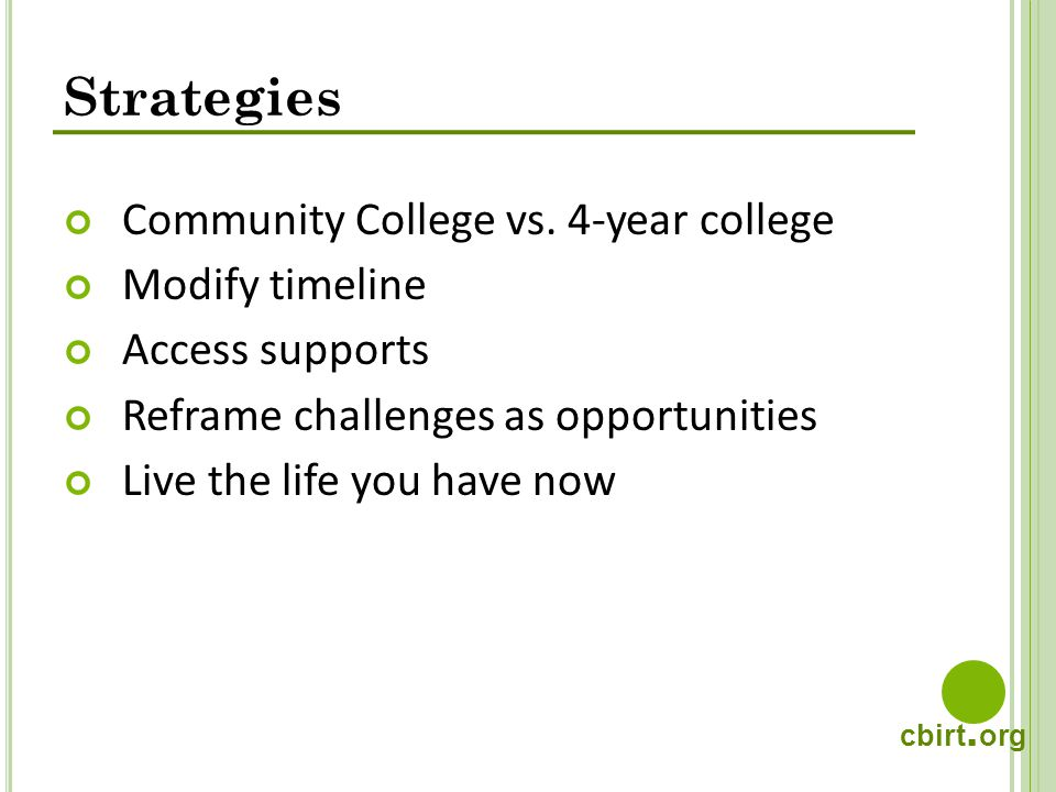 cbirt. org Strategies Community College vs.