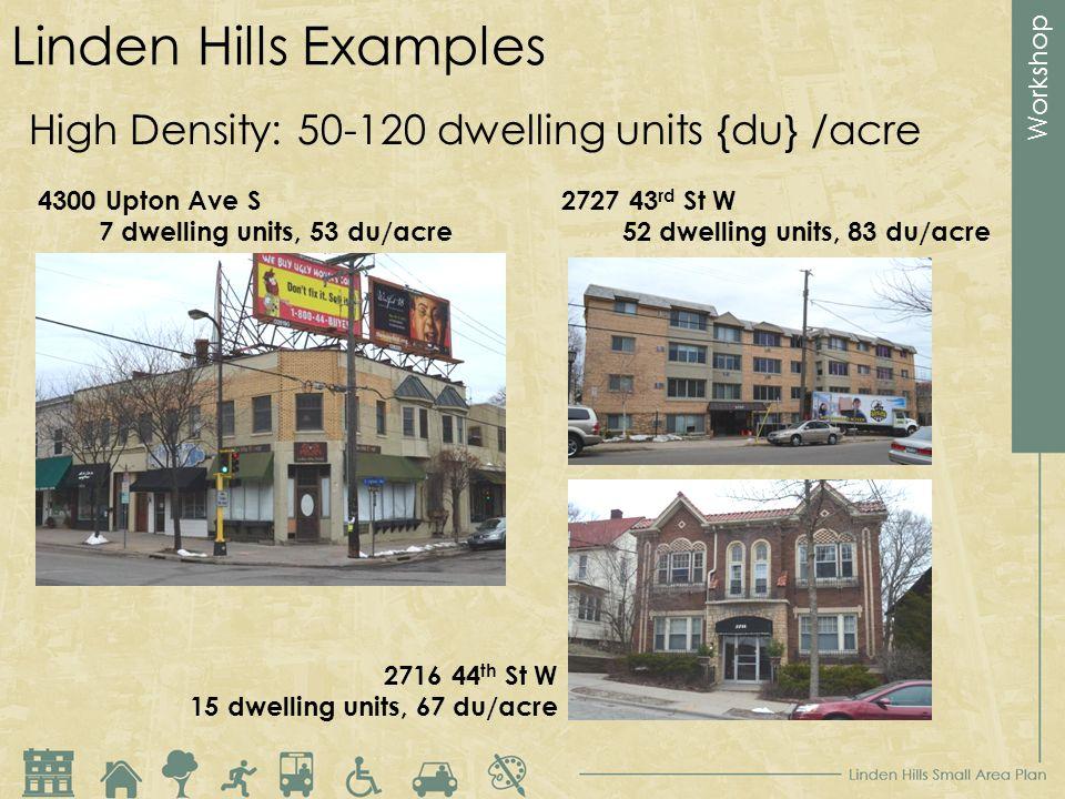 Workshop Linden Hills Examples High Density: 50-120 dwelling units {du} /acre 4300 Upton Ave S 7 dwelling units, 53 du/acre 2727 43 rd St W 52 dwellin