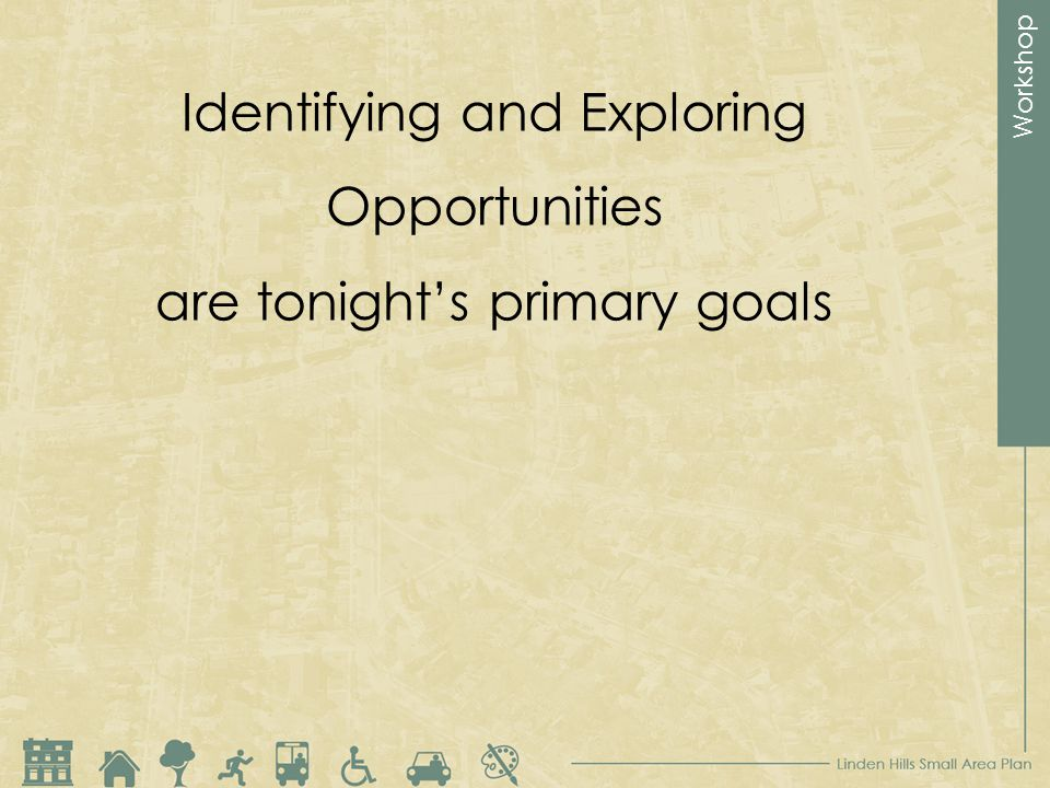 Workshop Identifying and Exploring Opportunities are tonights primary goals