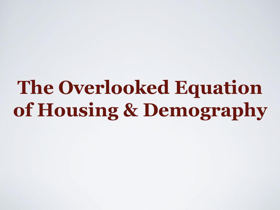 People live in housing; demand = occupied units Age regularities of demand, modified by economic conditions; demography is not a dummy variable Long lag effects: 1.