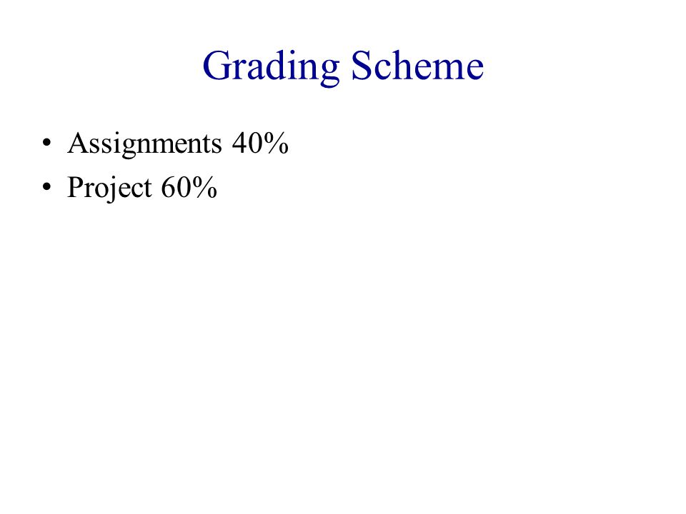 Grading Scheme Assignments 40% Project 60%
