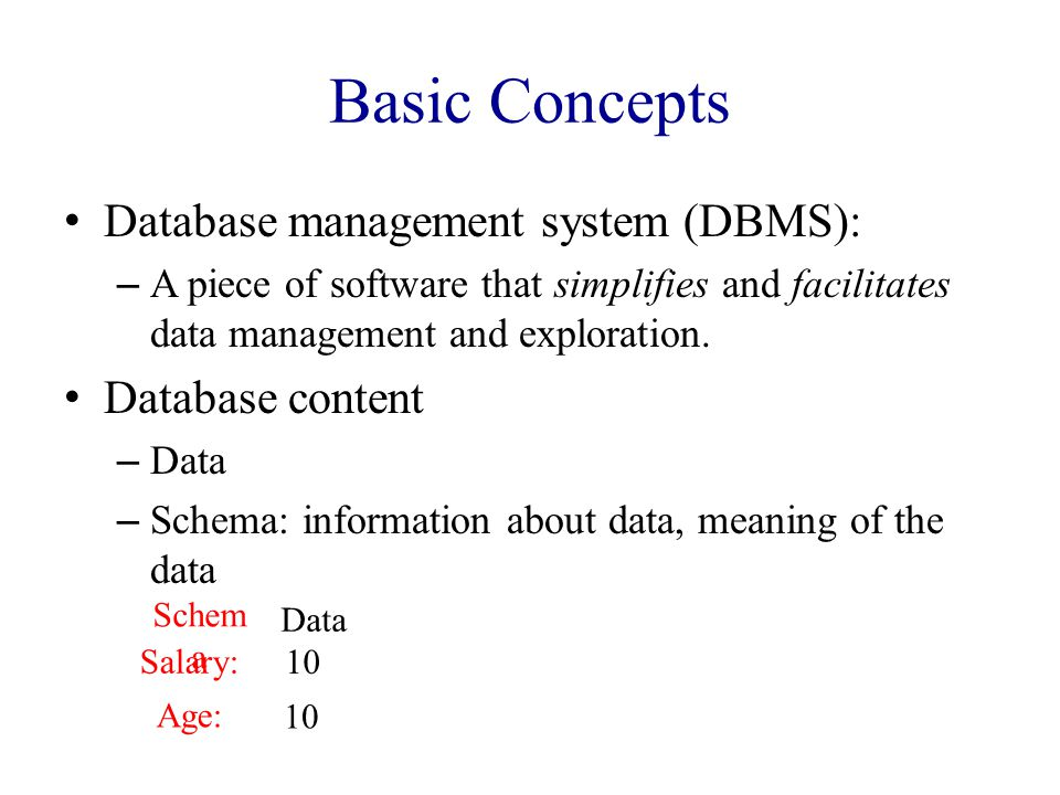 Basic Concepts Database management system (DBMS): – A piece of software that simplifies and facilitates data management and exploration.