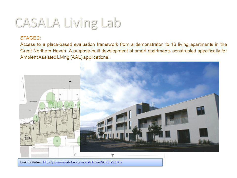 CASALA Living Lab Link to Video: http://www.youtube.com/watch v=DiCRQa93TCYhttp://www.youtube.com/watch v=DiCRQa93TCY Link to Video: http://www.youtube.com/watch v=DiCRQa93TCYhttp://www.youtube.com/watch v=DiCRQa93TCY STAGE 2: Access to a place-based evaluation framework from a demonstrator, to 16 living apartments in the Great Northern Haven.