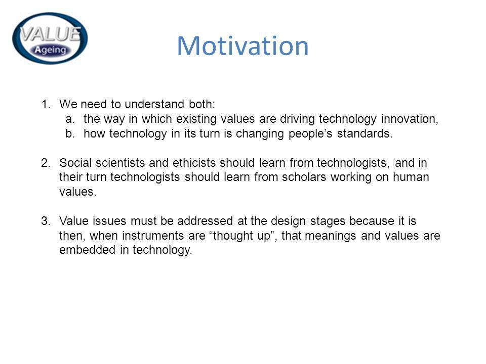 Motivation 1.We need to understand both: a.the way in which existing values are driving technology innovation, b.how technology in its turn is changing peoples standards.