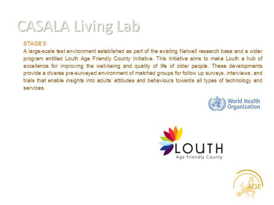 CASALA Living Lab STAGE 3: A large-scale test environment established as part of the existing Netwell research base and a wider program entitled Louth Age Friendly County Initiative.