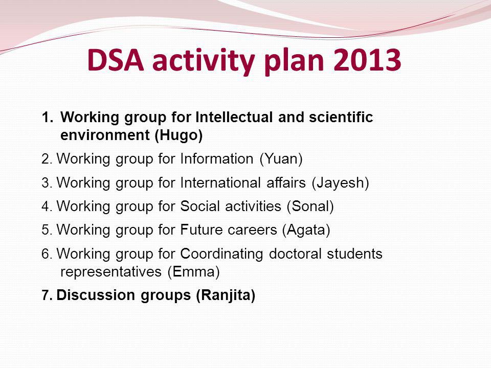 DSA activity plan 2013 1.Working group for Intellectual and scientific environment (Hugo) 2.