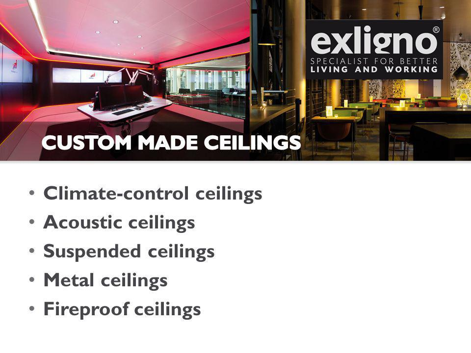 Climate-control ceilings Acoustic ceilings Suspended ceilings Metal ceilings Fireproof ceilings