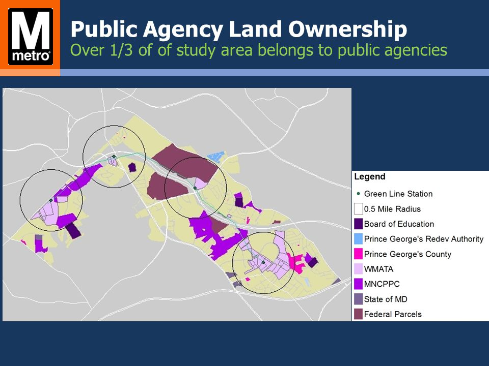 Public Agency Land Ownership Over 1/3 of of study area belongs to public agencies