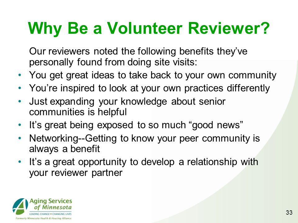 33 Why Be a Volunteer Reviewer.