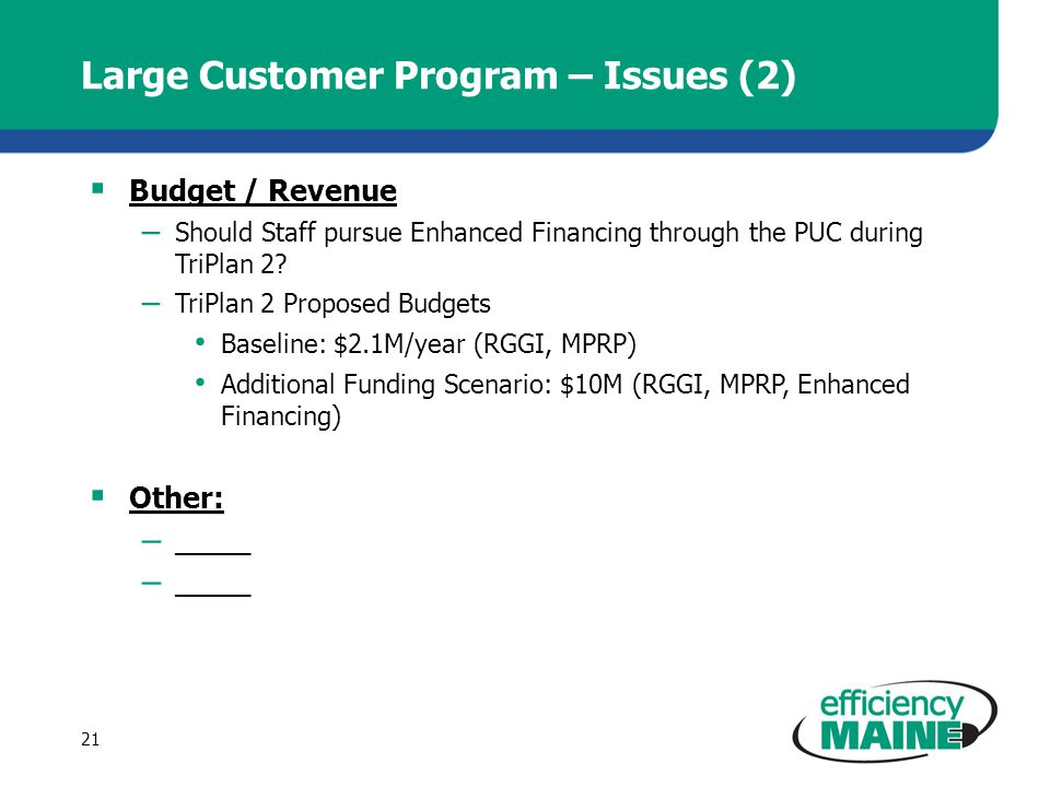 Large Customer Program – Issues (2) Budget / Revenue – Should Staff pursue Enhanced Financing through the PUC during TriPlan 2.