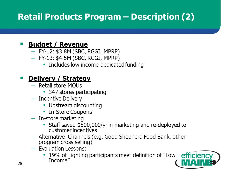 Retail Products Program – Description (2) Budget / Revenue – FY-12: $3.8M (SBC, RGGI, MPRP) – FY-13: $4.5M (SBC, RGGI, MPRP) Includes low income-dedicated funding Delivery / Strategy – Retail store MOUs 347 stores participating – Incentive Delivery Upstream discounting In-Store Coupons – In-store marketing Staff saved $500,000/yr in marketing and re-deployed to customer incentives – Alternative Channels (e.g.
