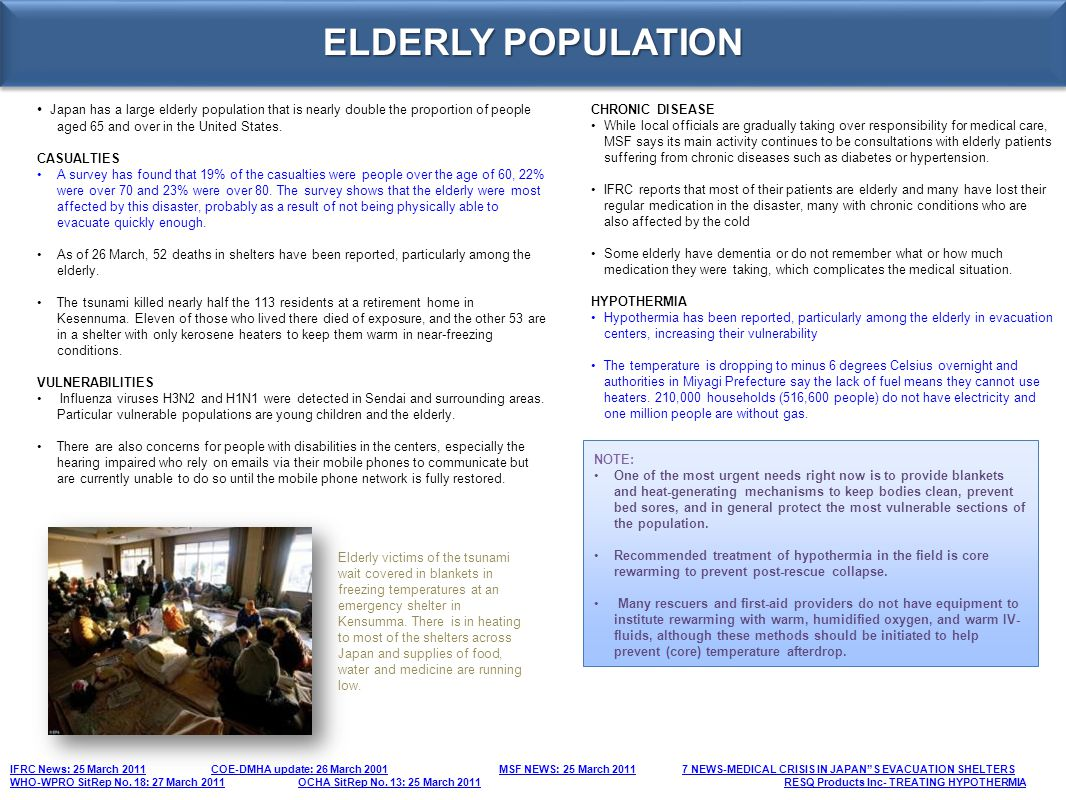 ELDERLY POPULATION Japan has a large elderly population that is nearly double the proportion of people aged 65 and over in the United States. CASUALTI