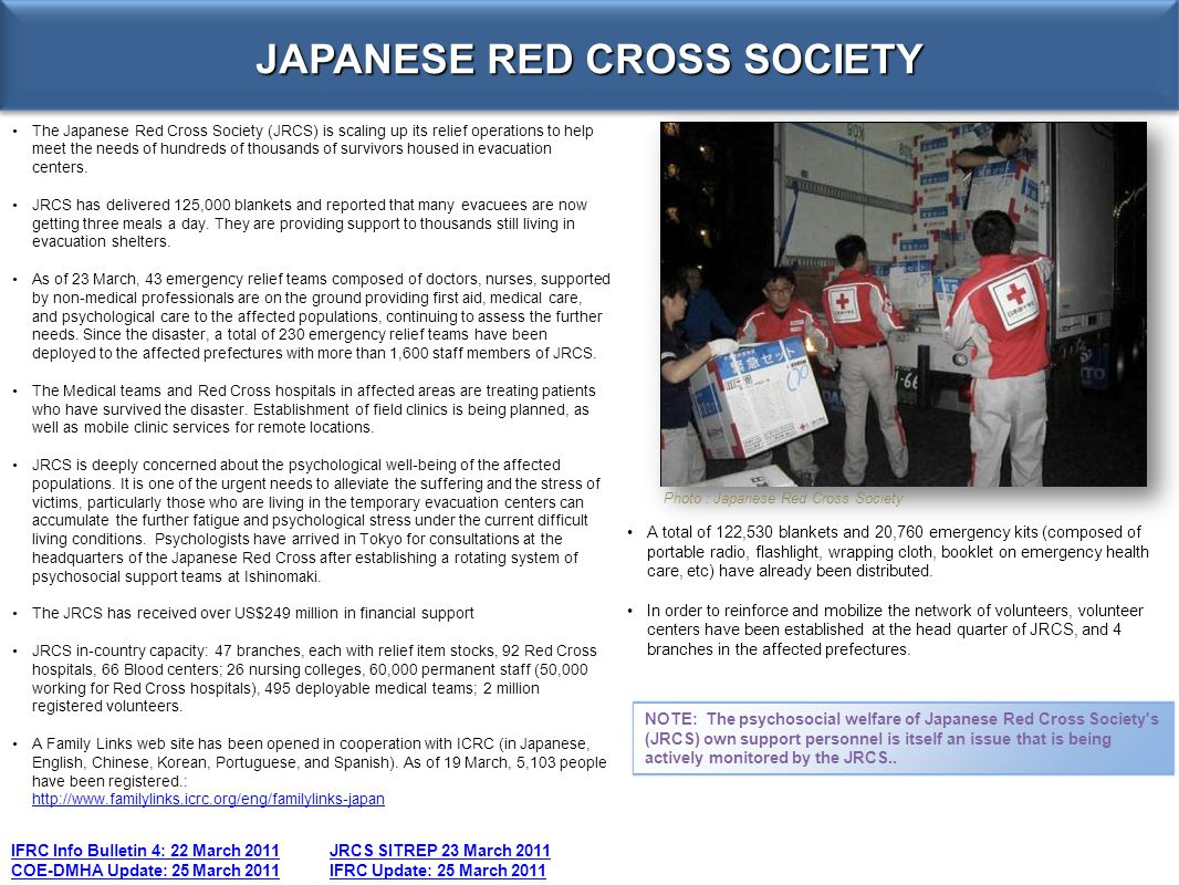 JAPANESE RED CROSS SOCIETY IFRC Info Bulletin 4: 22 March 2011JRCS SITREP 23 March 2011 COE-DMHA Update: 25 March 2011IFRC Update: 25 March 2011 The J