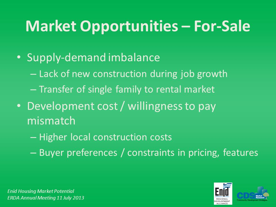 Enid Housing Market Potential ERDA Annual Meeting 11 July 2013 Market Opportunities – For-Sale Supply-demand imbalance – Lack of new construction during job growth – Transfer of single family to rental market Development cost / willingness to pay mismatch – Higher local construction costs – Buyer preferences / constraints in pricing, features