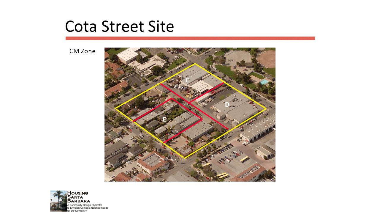 C D E Cota Street Site CM Zone