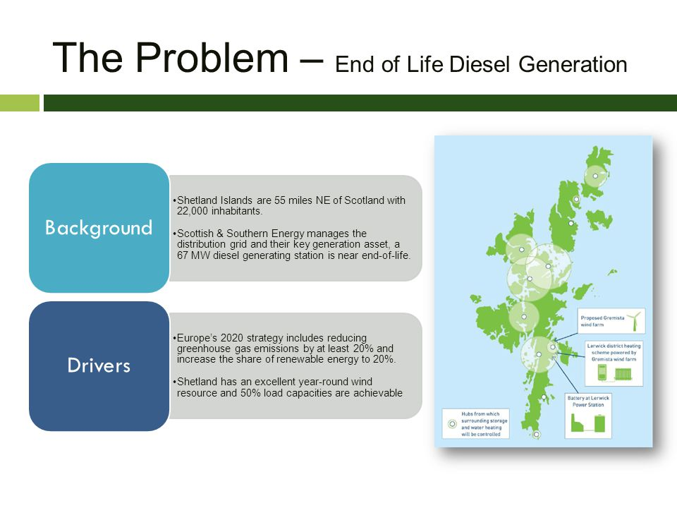The Problem – End of Life Diesel Generation Shetland Islands are 55 miles NE of Scotland with 22,000 inhabitants. Scottish & Southern Energy manages t