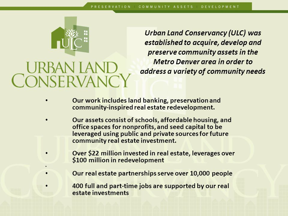 Our work includes land banking, preservation and community-inspired real estate redevelopment.