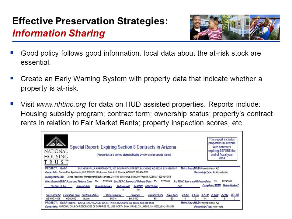National Housing Trust, Washington, DC Significant Preservation Problem: More than 37,100 assisted units in project based Section 8 properties will expire before 2016.