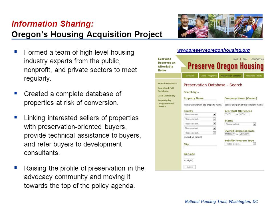 National Housing Trust, Washington, DC Significant Preservation Problem: More than 36,800 assisted units in project based Section 8 properties will expire before 2016.