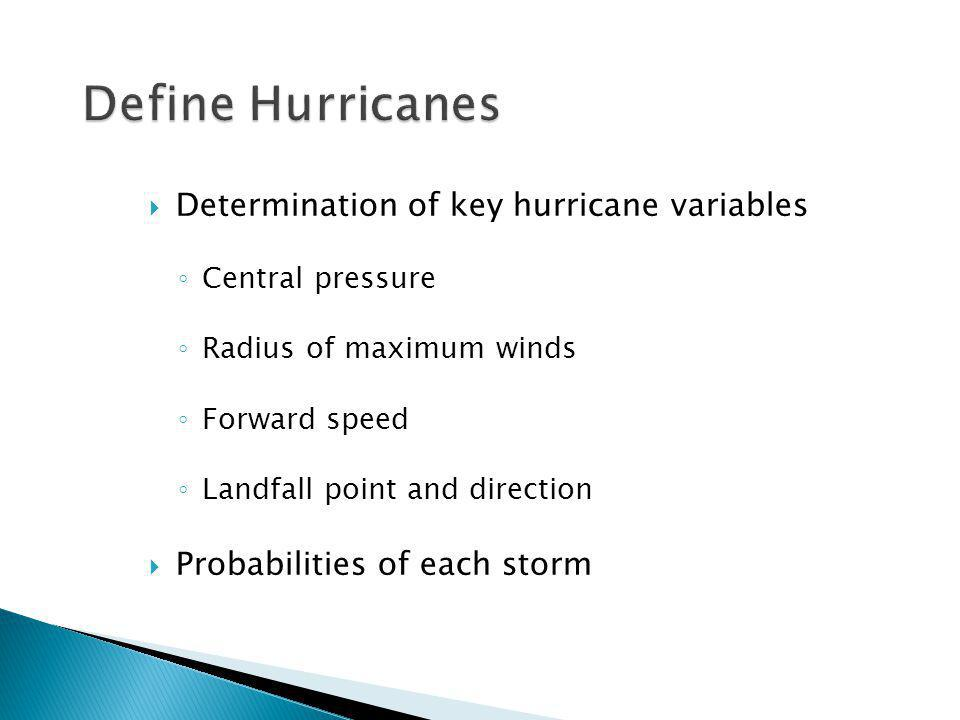 Determination of key hurricane variables Central pressure Radius of maximum winds Forward speed Landfall point and direction Probabilities of each storm