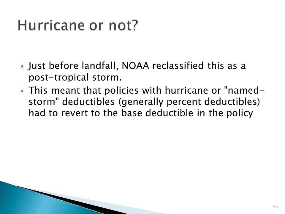Just before landfall, NOAA reclassified this as a post-tropical storm.