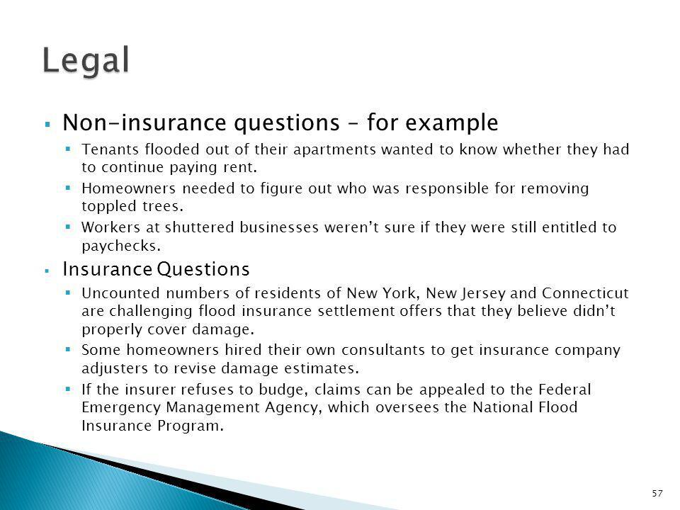Non-insurance questions – for example Tenants flooded out of their apartments wanted to know whether they had to continue paying rent.