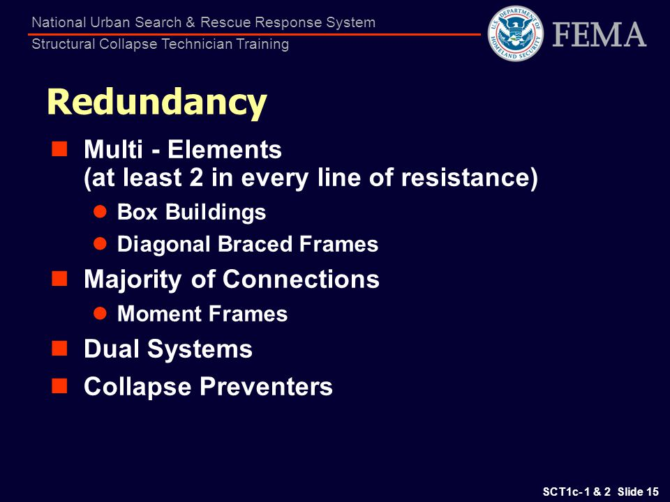 SCT1c- 1 & 2 Slide 15 National Urban Search & Rescue Response System Structural Collapse Technician Training Redundancy Multi - Elements (at least 2 i