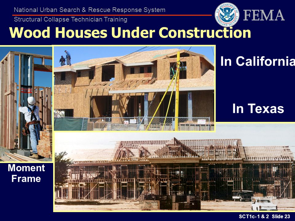 SCT1c- 1 & 2 Slide 23 National Urban Search & Rescue Response System Structural Collapse Technician Training Wood Houses Under Construction In Califor