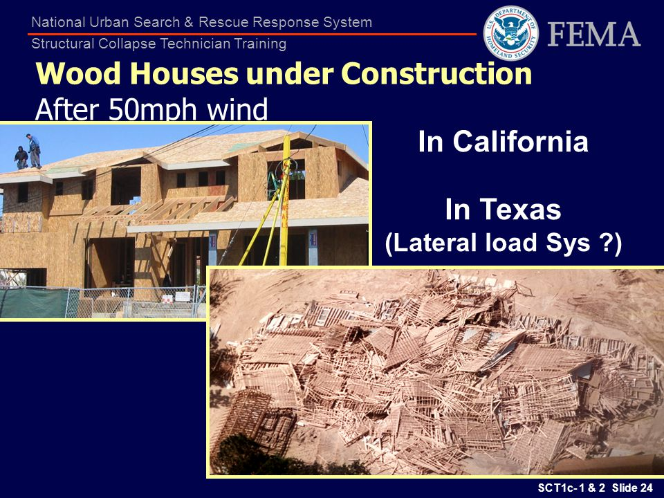 SCT1c- 1 & 2 Slide 24 National Urban Search & Rescue Response System Structural Collapse Technician Training Wood Houses under Construction After 50mp