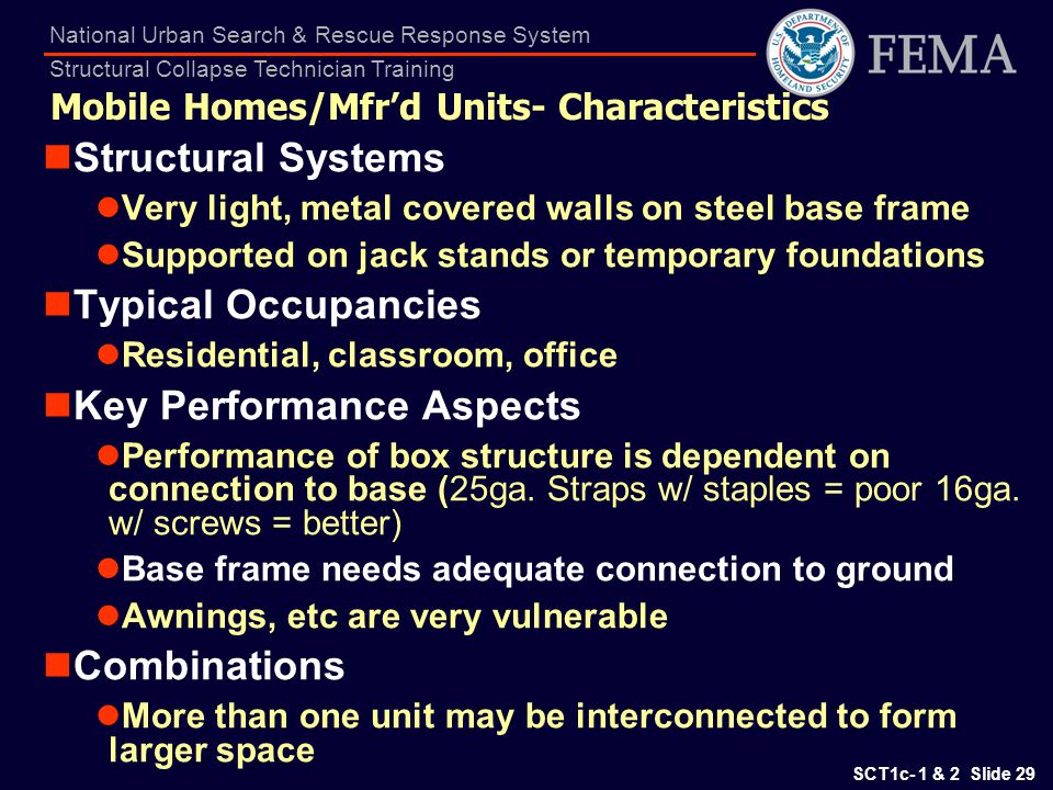 SCT1c- 1 & 2 Slide 29 National Urban Search & Rescue Response System Structural Collapse Technician Training Mobile Homes/Mfrd Units- Characteristics