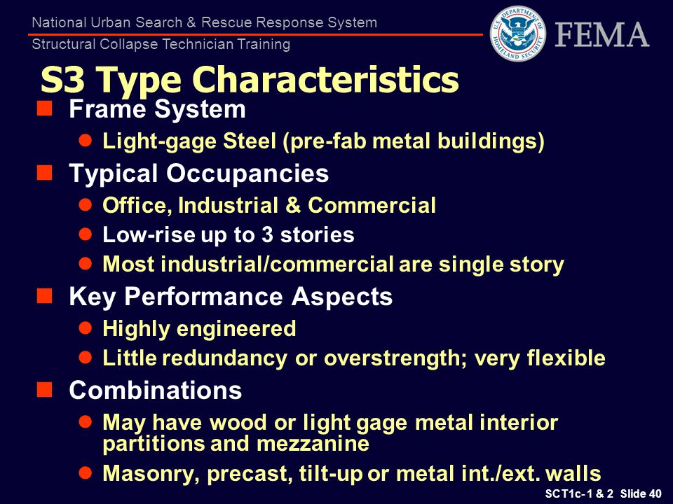 SCT1c- 1 & 2 Slide 40 National Urban Search & Rescue Response System Structural Collapse Technician Training S3 Type Characteristics Frame System Ligh
