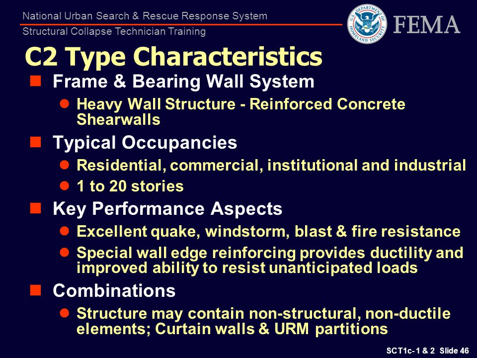 SCT1c- 1 & 2 Slide 46 National Urban Search & Rescue Response System Structural Collapse Technician Training C2 Type Characteristics Frame & Bearing W