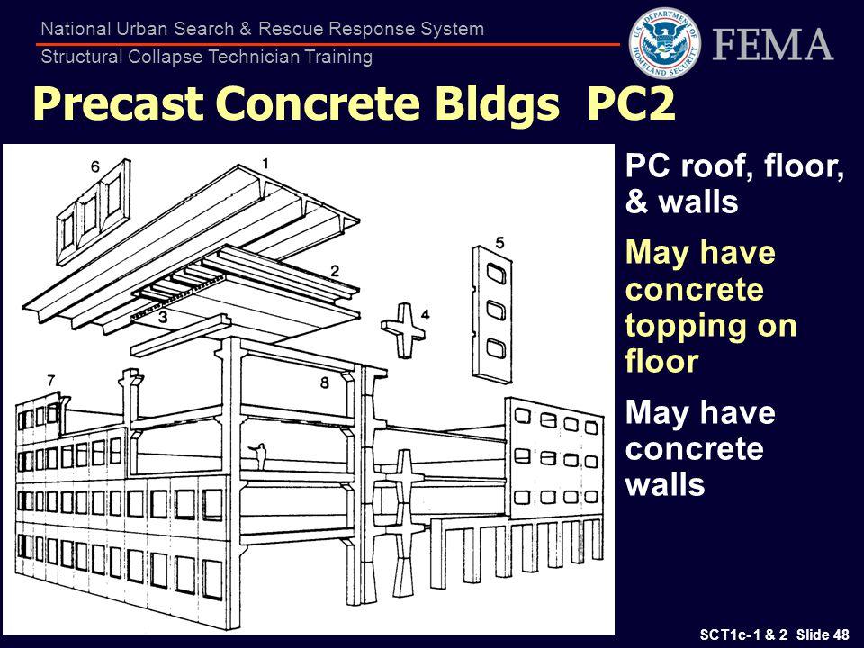 SCT1c- 1 & 2 Slide 48 National Urban Search & Rescue Response System Structural Collapse Technician Training Precast Concrete Bldgs PC2 PC roof, floor