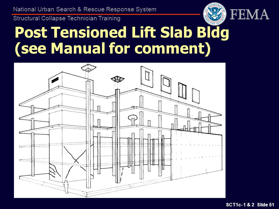 SCT1c- 1 & 2 Slide 51 National Urban Search & Rescue Response System Structural Collapse Technician Training Post Tensioned Lift Slab Bldg (see Manual