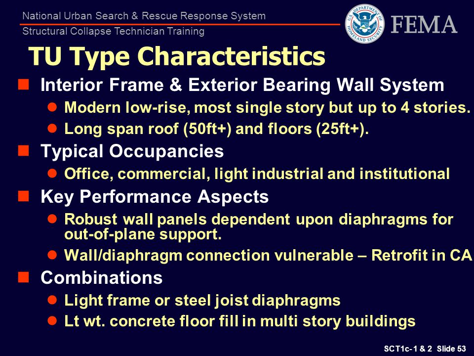 SCT1c- 1 & 2 Slide 53 National Urban Search & Rescue Response System Structural Collapse Technician Training TU Type Characteristics Interior Frame &