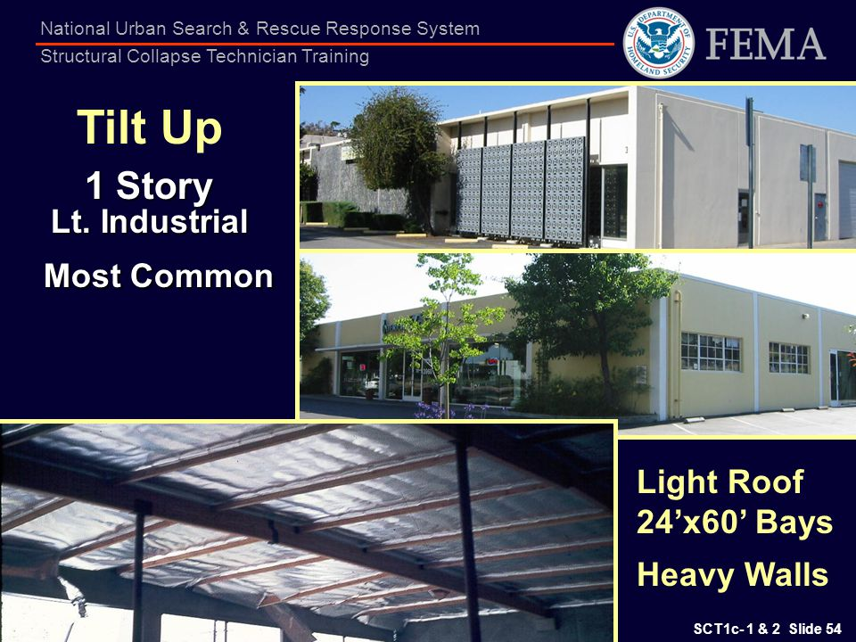 SCT1c- 1 & 2 Slide 54 National Urban Search & Rescue Response System Structural Collapse Technician Training Light Roof 24x60 Bays Heavy Walls Tilt Up