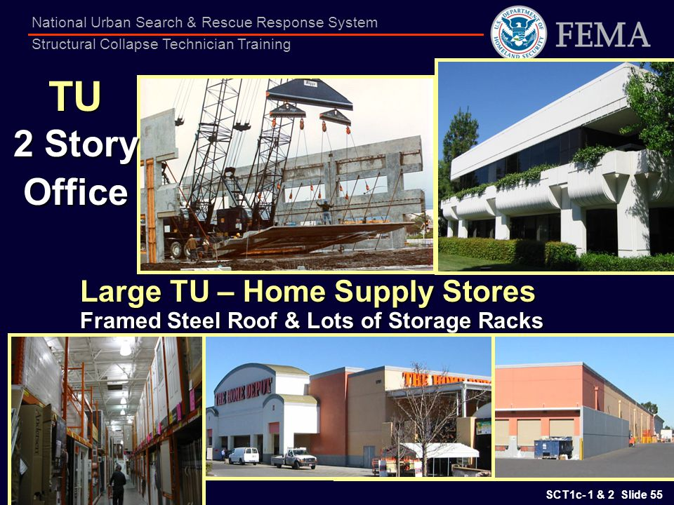 SCT1c- 1 & 2 Slide 55 National Urban Search & Rescue Response System Structural Collapse Technician Training TU 2 Story Office Large TU – Home Supply