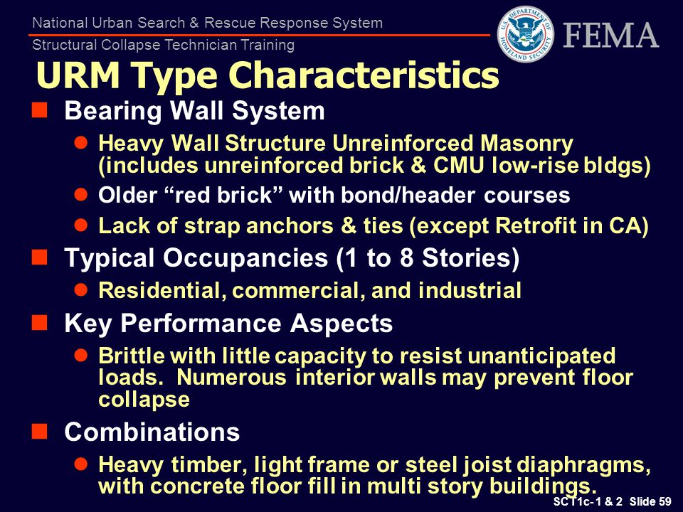 SCT1c- 1 & 2 Slide 59 National Urban Search & Rescue Response System Structural Collapse Technician Training URM Type Characteristics Bearing Wall Sys