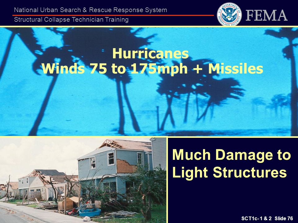 SCT1c- 1 & 2 Slide 76 National Urban Search & Rescue Response System Structural Collapse Technician Training Hurricanes Winds 75 to 175mph + Missiles