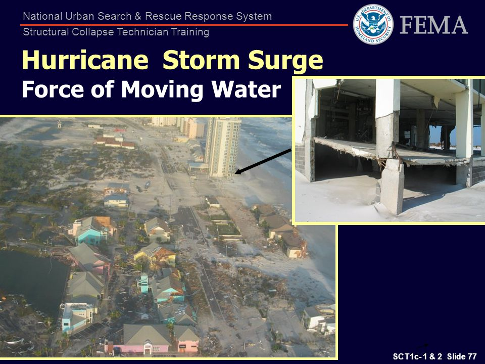 SCT1c- 1 & 2 Slide 77 National Urban Search & Rescue Response System Structural Collapse Technician Training Hurricane Storm Surge Force of Moving Wat