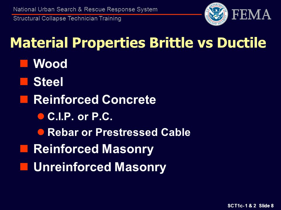 SCT1c- 1 & 2 Slide 59 National Urban Search & Rescue Response System Structural Collapse Technician Training URM Type Characteristics Bearing Wall System Heavy Wall Structure Unreinforced Masonry (includes unreinforced brick & CMU low-rise bldgs) Older red brick with bond/header courses Lack of strap anchors & ties (except Retrofit in CA) Typical Occupancies (1 to 8 Stories) Residential, commercial, and industrial Key Performance Aspects Brittle with little capacity to resist unanticipated loads.