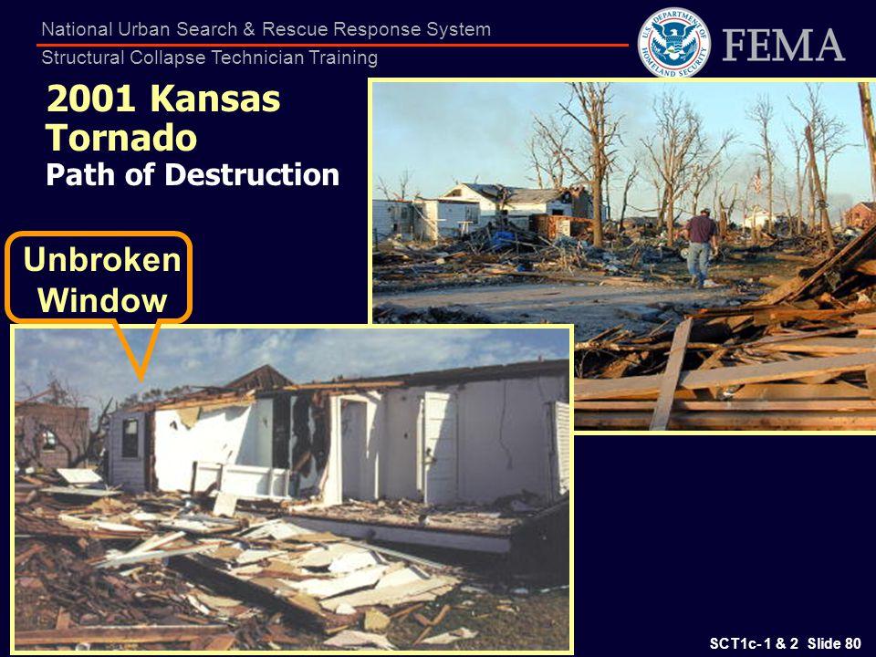 SCT1c- 1 & 2 Slide 80 National Urban Search & Rescue Response System Structural Collapse Technician Training 2001 Kansas Tornado Path of Destruction U
